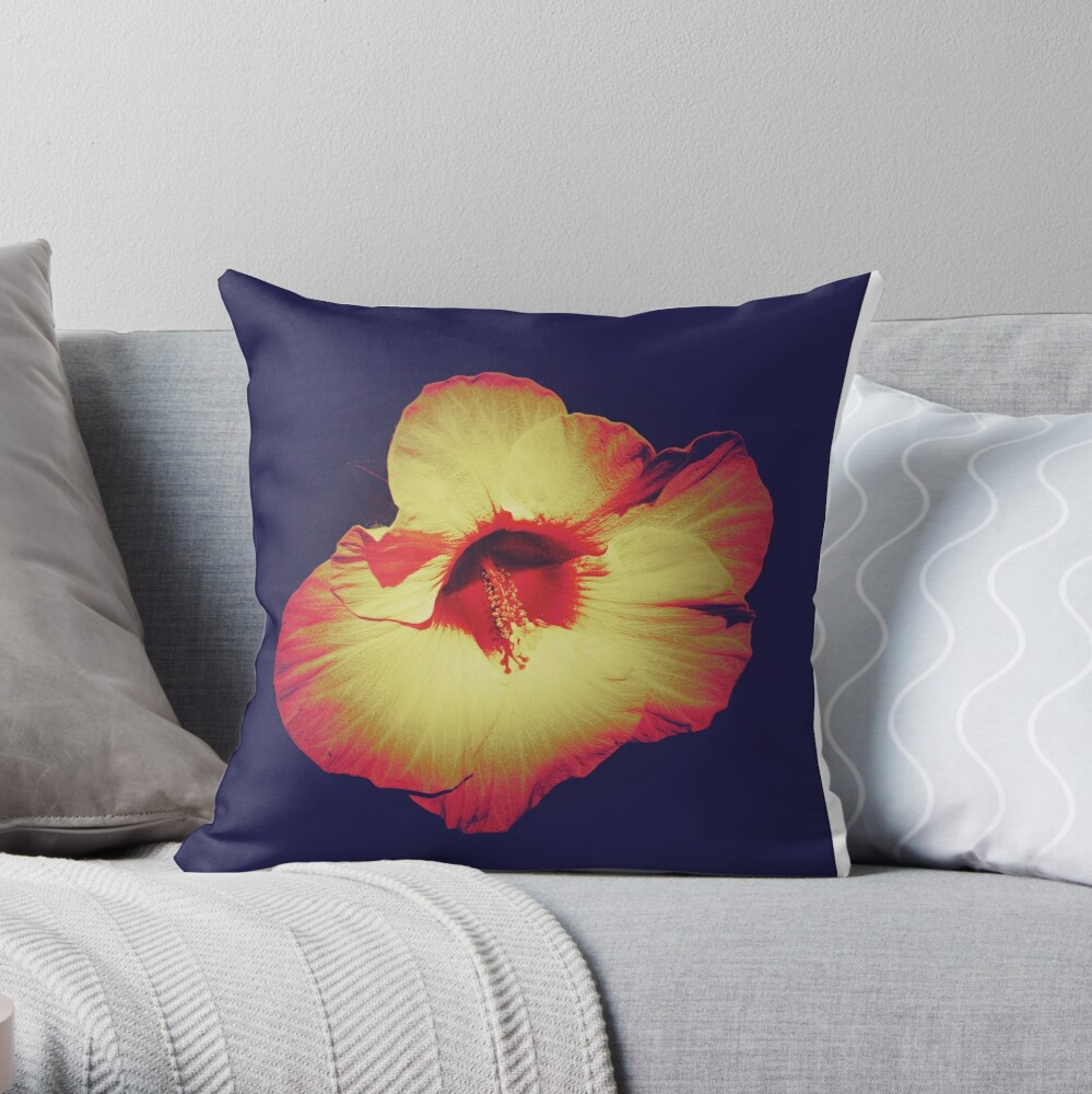 Floral Gift - Single Hibiscus Design Throw Pillow