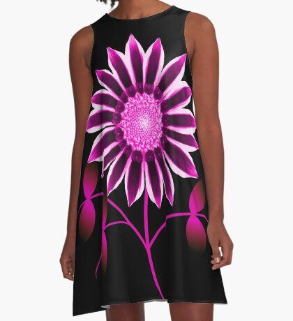 Blume in pink & violett, Blumen, lila A-Linien Kleid