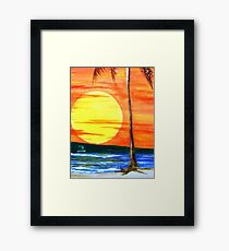 Haleiwa Beach Sunset Framed Print