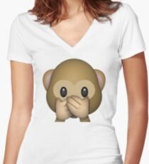 Monkey Emoji - Speak No Evil Women's Fitted V-Neck T-Shirt