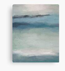 Mint Sky Navy Blue Black Rock Ocean Tropical Hawaii Wave Abstract Painting Art Canvas Print