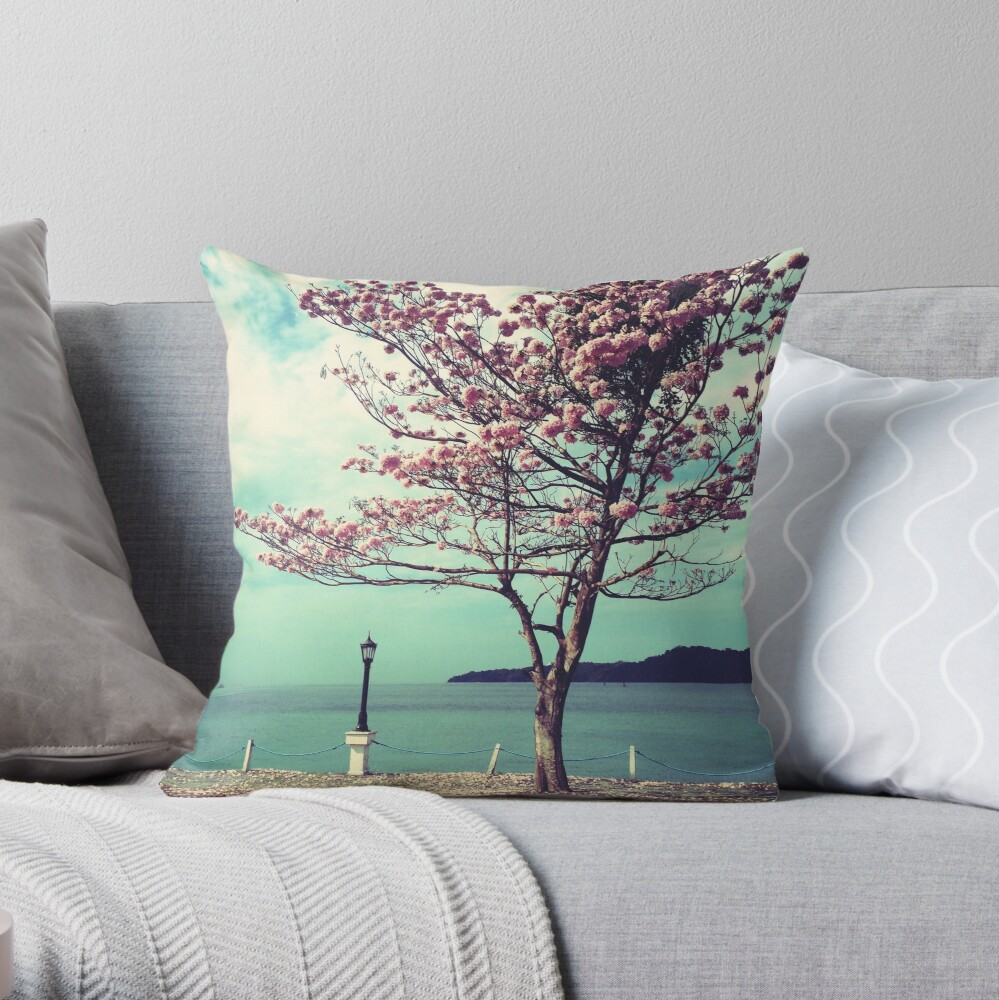 Blooms by the Sea - Panama Landscape  Throw Pillow