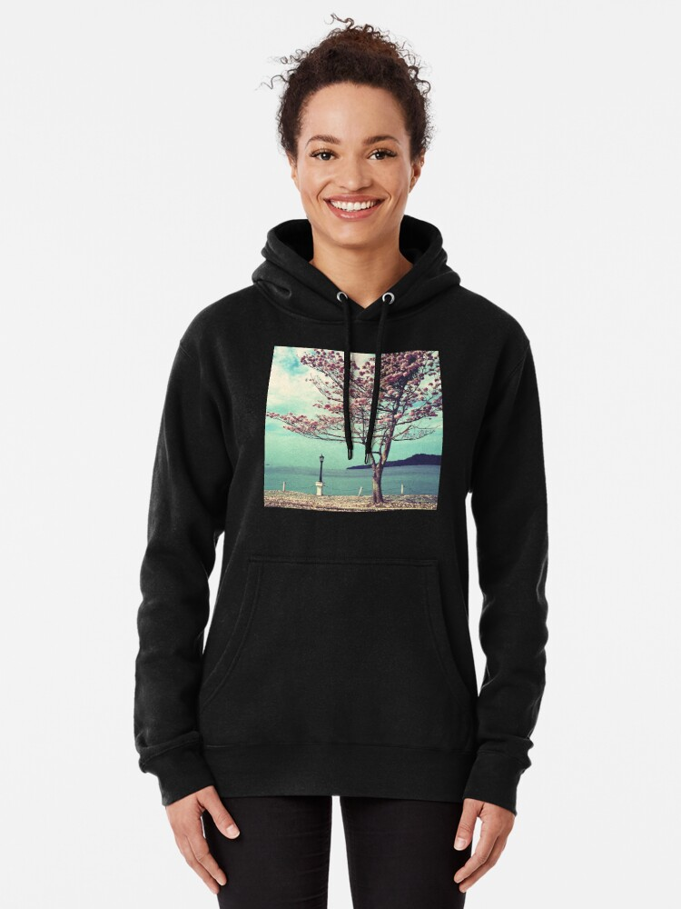 Alternate view of Blooms by the Sea - Panama Landscape  Pullover Hoodie