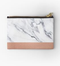 Rose Gold Marble Luxury iPhone Case and Throw Pillow Design Zipper Pouch