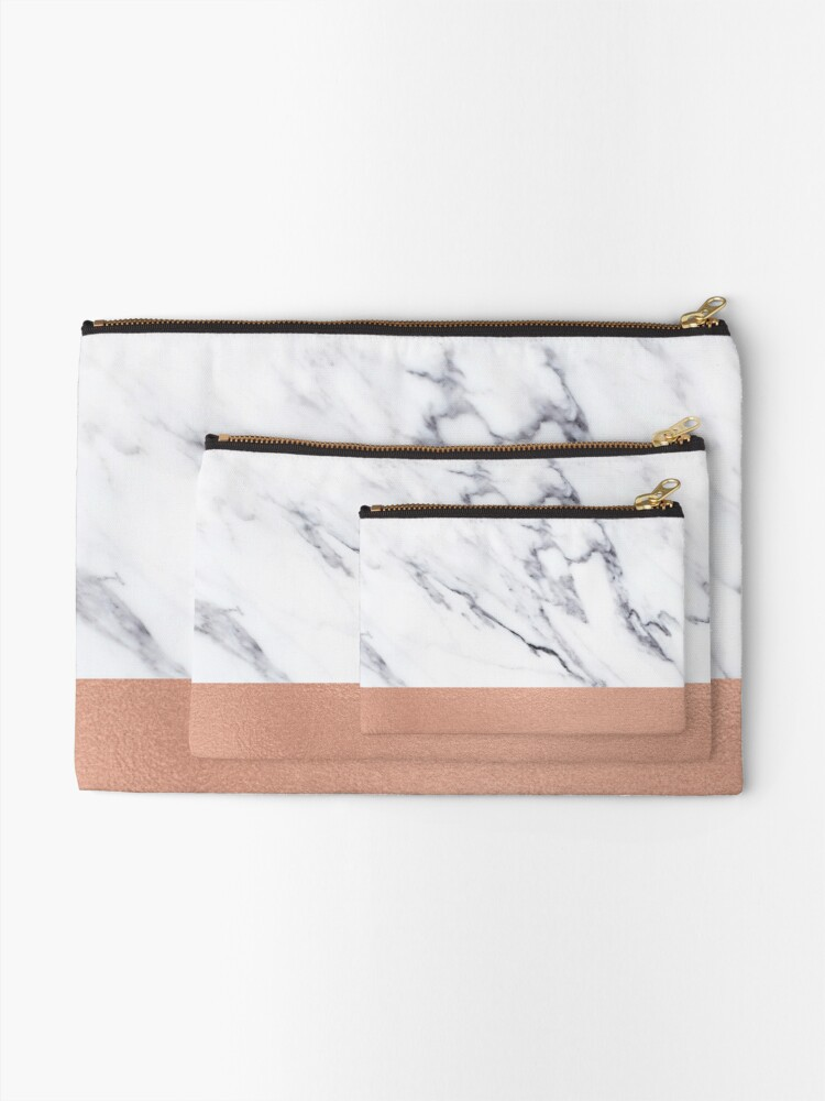 Alternate view of Rose Gold Marble Luxury iPhone Case and Throw Pillow Design Zipper Pouch