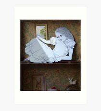 Alice in the white Rabbit's House Art Print