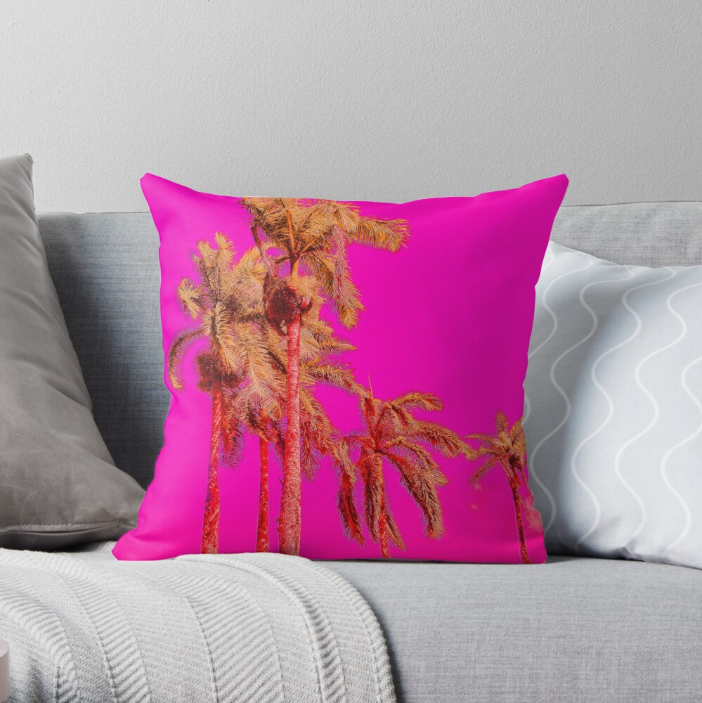 Neon Pink Tropics - Psychedelic Coconut Trees Art - Graduation Gift Throw Pillow