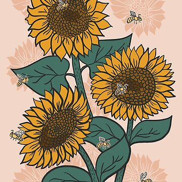 Sunflowers + Bees on Pink by latheandquill