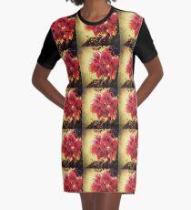 Sunset Bougainvillea Graphic T-Shirt Dress
