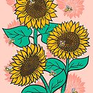 Cheery Sunflowers on Pink with Bees by latheandquill