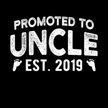 Promoted To Uncle Est 2019 Expecting Uncle Brother Gift by JapaneseInkArt