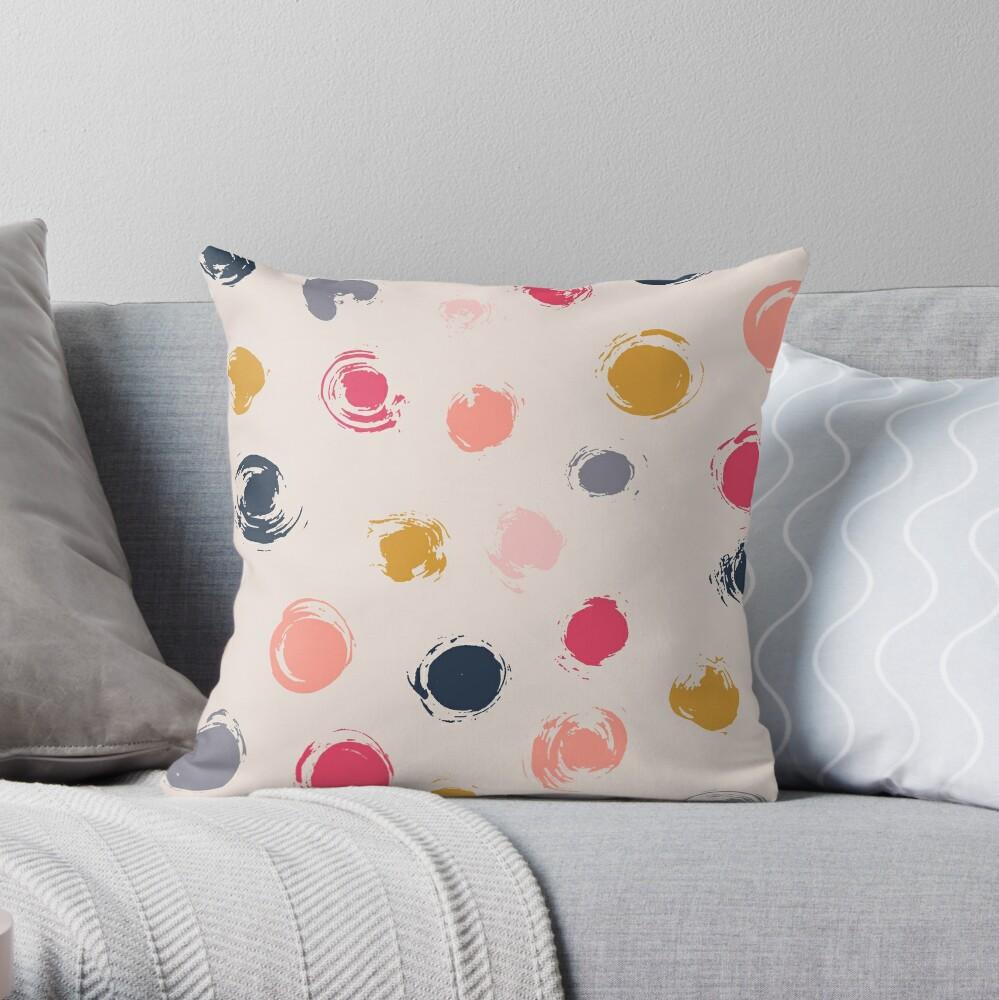 Handpainted Circle Textures Cream Multi Throw Pillow