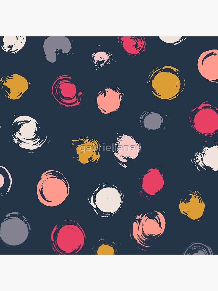 Handpainted Circle Textures Navy Multi by gabrielleneil