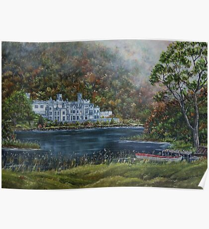 """Mist over Kylemore Abbey"" - Oil Painting Poster"