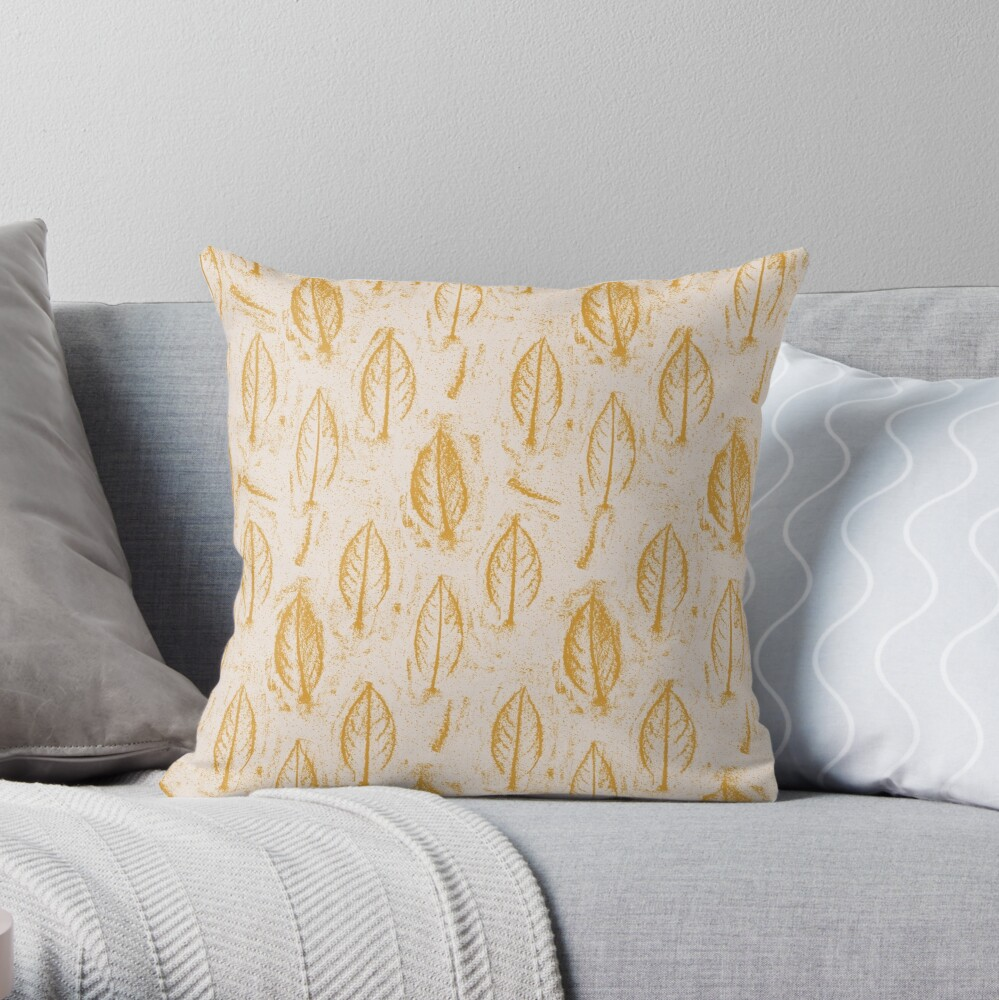 Leaves Relief Sketch Mustard Yellow Throw Pillow