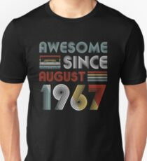 Funny Retro Vintage Awesome Since August 1967 Birthday Unisex T-Shirt