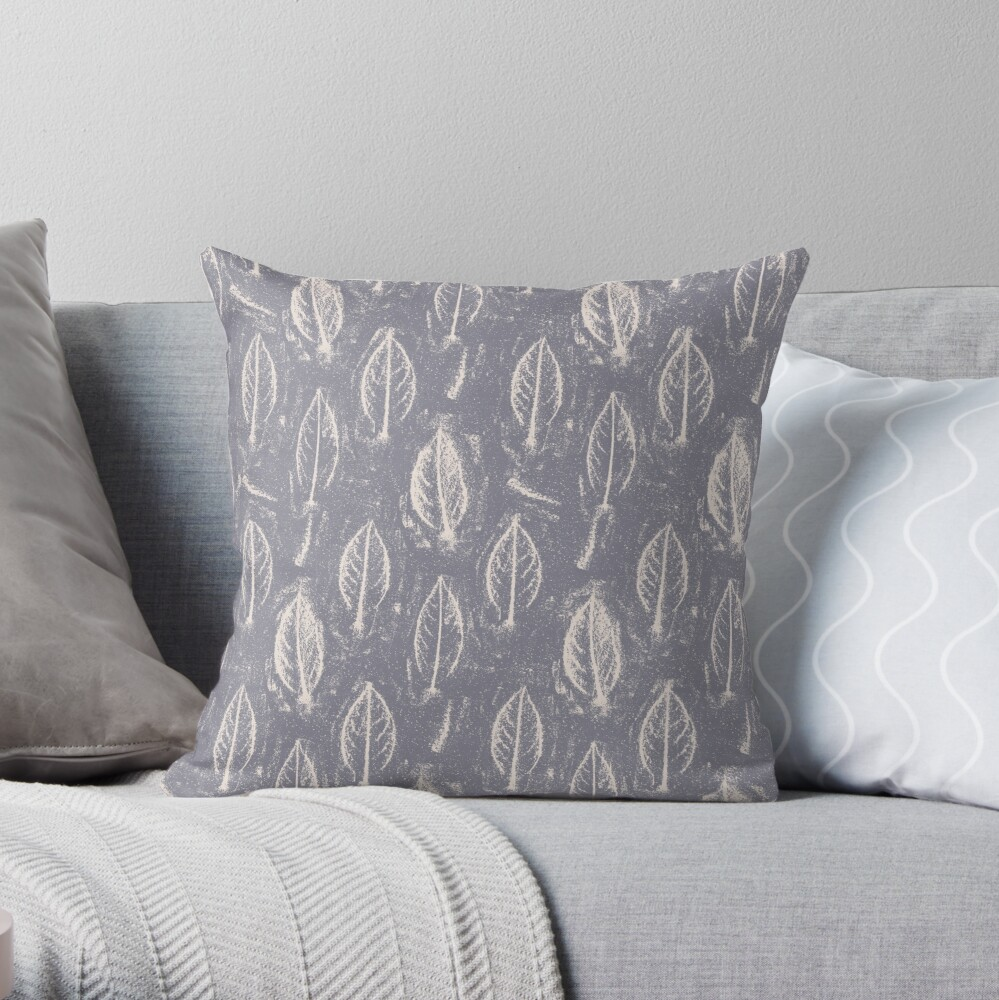 Leaves Relief Sketch Grey Throw Pillow