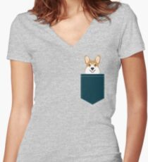 Teagan - Corgi Welsh Corgi gift phone case design for pet lovers and dog people Fitted V-Neck T-Shirt