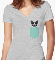 Logan - Boston Terrier pet design with bold and modern colors for pet lovers Fitted V-Neck T-Shirt