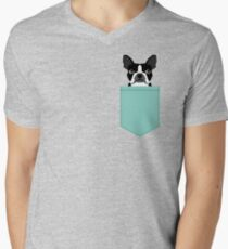Logan - Boston Terrier pet design with bold and modern colors for pet lovers V-Neck T-Shirt
