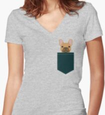 Willow - French Bulldog phone case art design for dog lovers and dog people Women's Fitted V-Neck T-Shirt