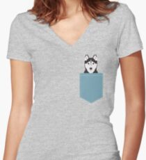 Shiloh - Husky Siberian Husky dog art phone case gifts for dog person Women's Fitted V-Neck T-Shirt