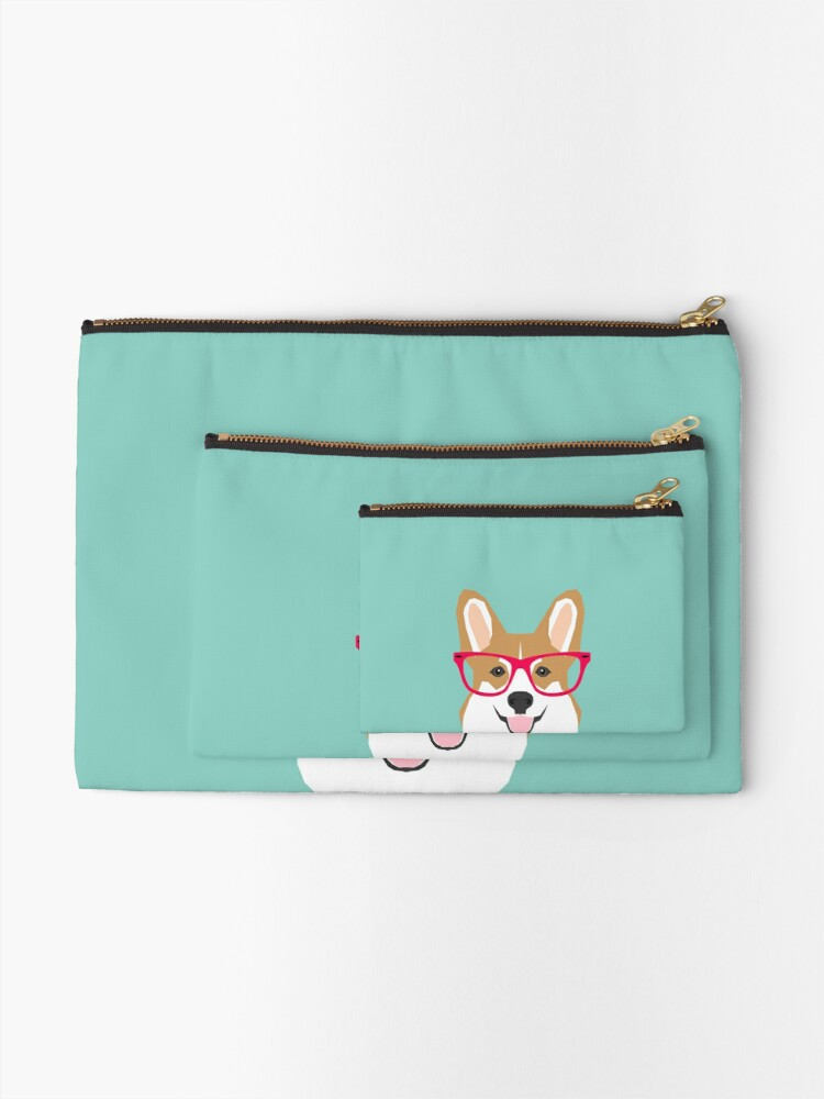 Alternate view of Teagan Glasses Corgi cute puppy welsh corgi gifts for dog lovers and pet owners love corgi puppies Zipper Pouch