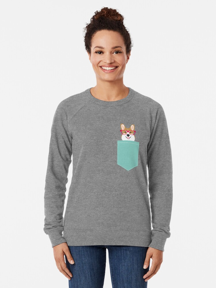 Alternate view of Teagan Glasses Corgi cute puppy welsh corgi gifts for dog lovers and pet owners love corgi puppies Lightweight Sweatshirt