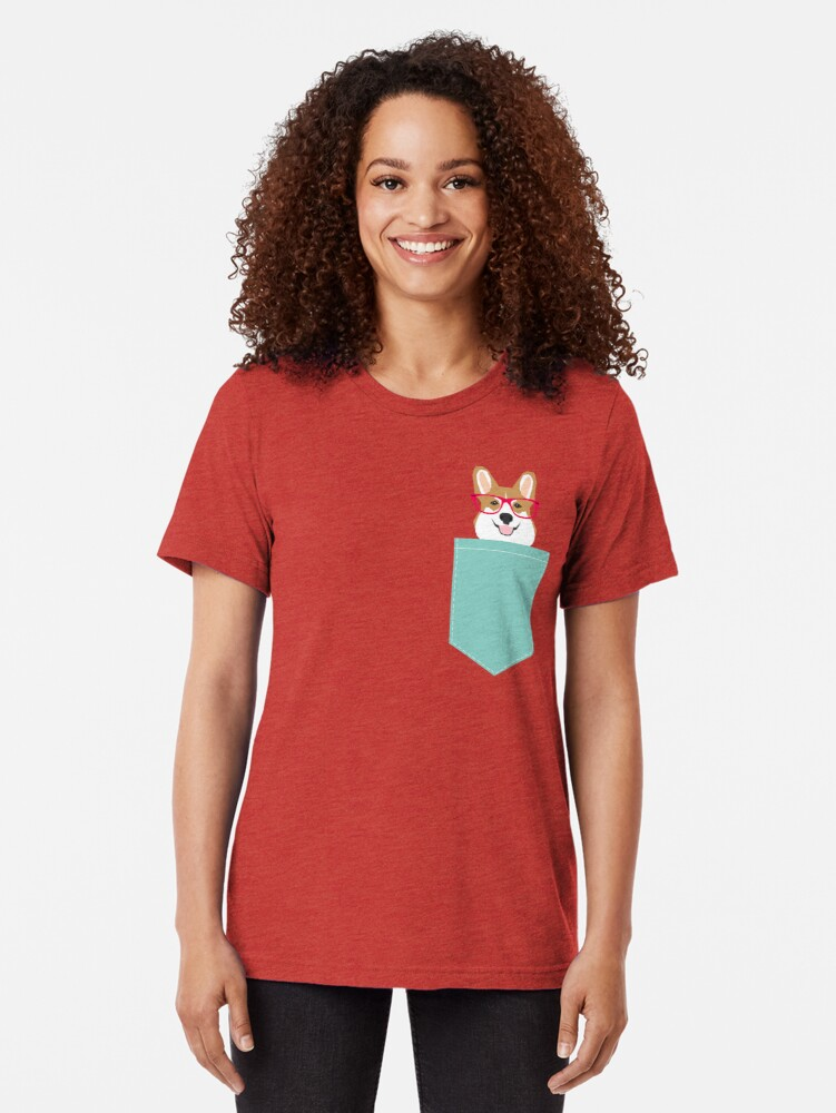 Alternate view of Teagan Glasses Corgi cute puppy welsh corgi gifts for dog lovers and pet owners love corgi puppies Tri-blend T-Shirt