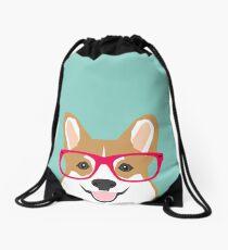 Teagan Glasses Corgi cute puppy welsh corgi gifts for dog lovers and pet owners love corgi puppies Drawstring Bag