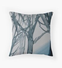 Trees in winter watercolour Throw Pillow