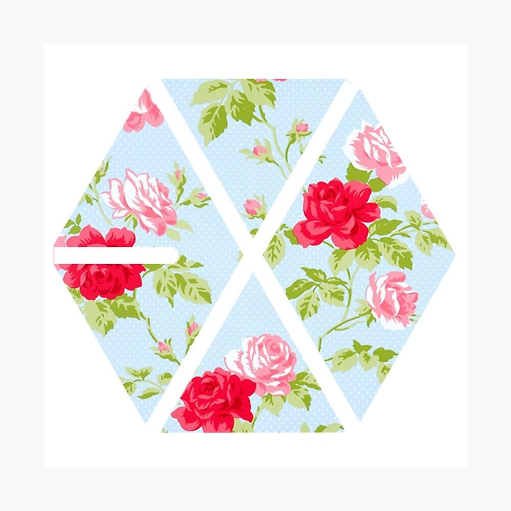 EXO - Blaue Blumen Fotodruck