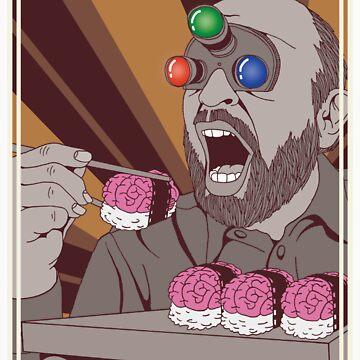 Brain Sushi bw by Gouacheman