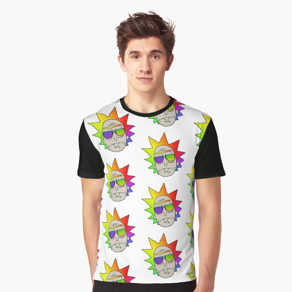 Rick and Morty: Party Rick Head Pattern Graphic T-Shirt