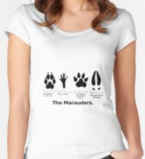 Marauders Animagus Footprint  Women's Fitted Scoop T-Shirt