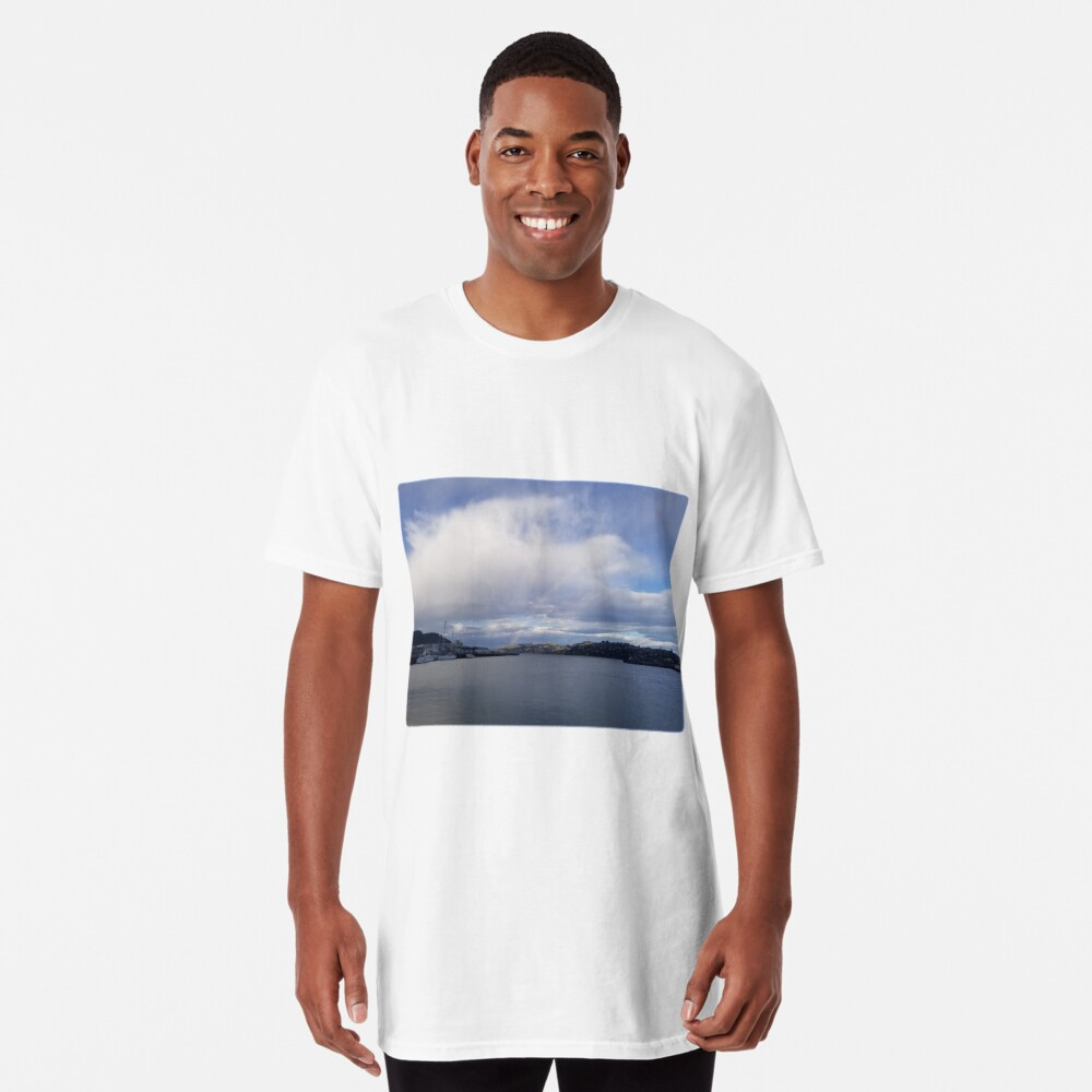 Sudden Rainbow Over the Cloudy Docks Long T-Shirt