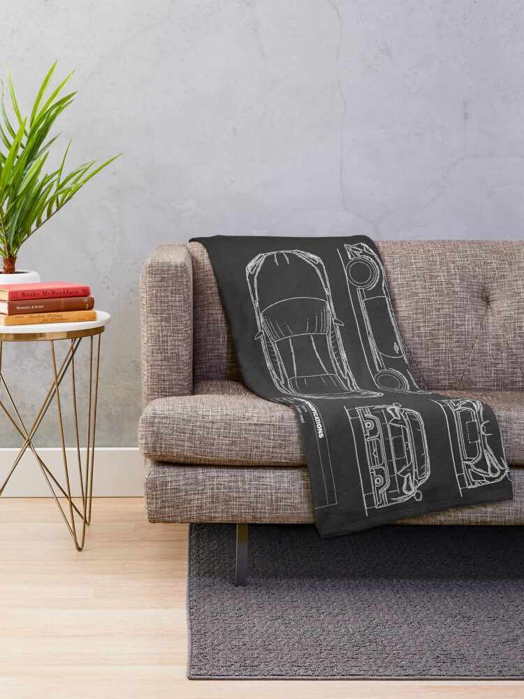 Alternate view of The GT86 Blueprint Throw Blanket