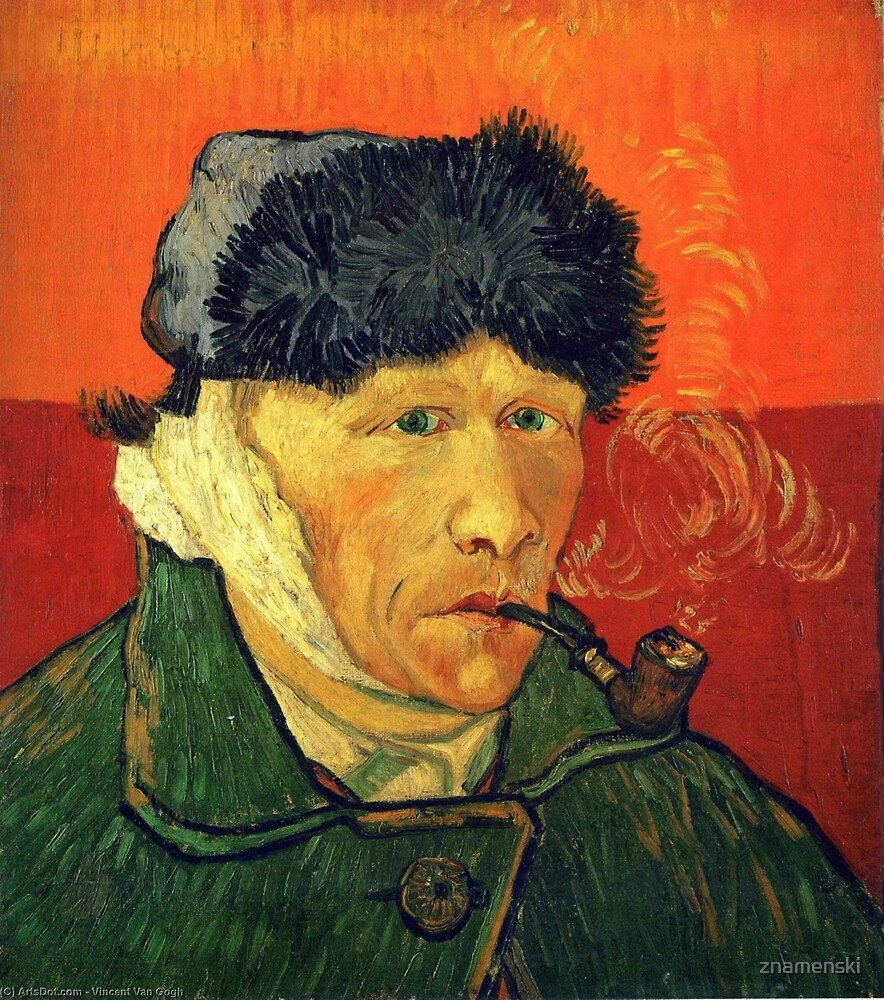 Self Portrait with Bandaged Ear and Pipe – (Vincent Van Gogh) by znamenski