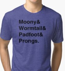 Moony & Wormtail & Padfoot & Prongs. Tri-blend T-Shirt