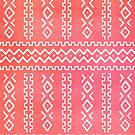 Coral Pink Tribal Stripes Pattern by blueskywhimsy