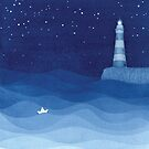 Leuchtturm 2, blaues Ozeanaquarell von VApinx