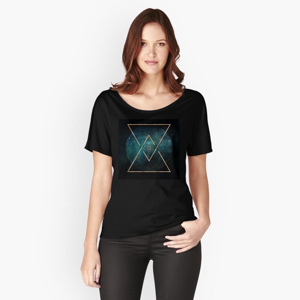 T-shirt coupe relax «Eye Moon - Mandala bohémien tribal géométrique»