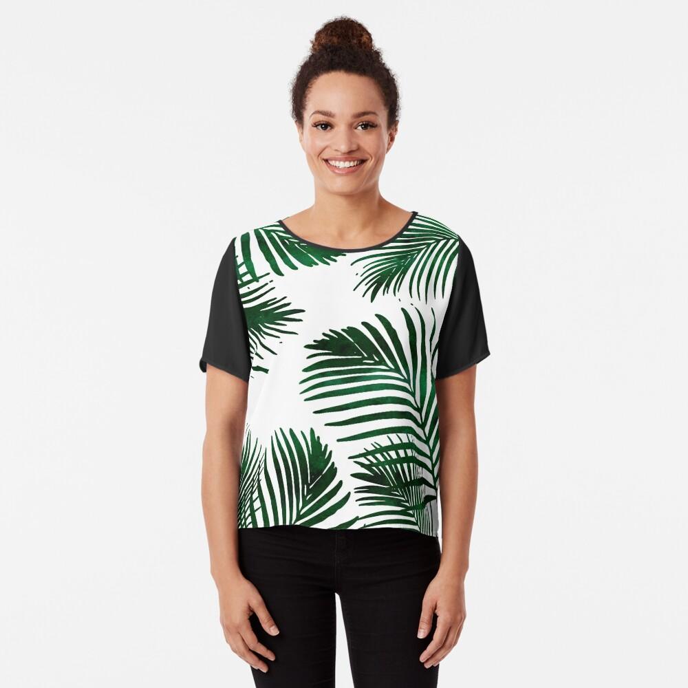 Tropical Palm Leaf Chiffon Top