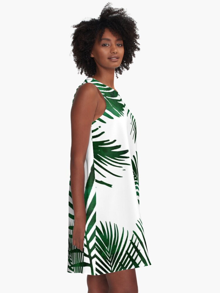 Alternate view of Tropical Palm Leaf A-Line Dress
