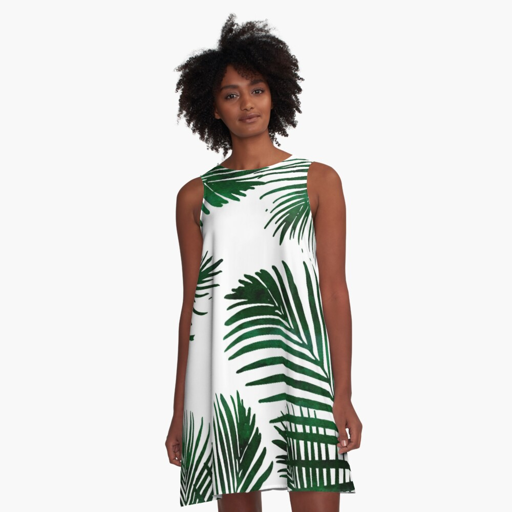 Tropical Palm Leaf A-Line Dress