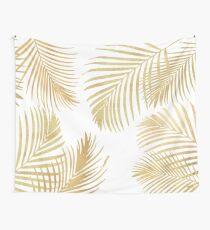 Goldpalmblätter auf Weiß Wandbehang