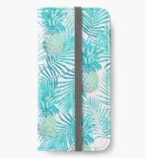 Türkis-Palmblätter und -ananas auf Rosa iPhone Flip-Case/Hülle/Klebefolie