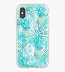 Turquoise Palm Leaves and Pineapples on Pink iPhone Case