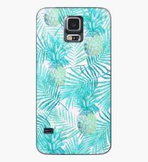 Türkis-Palmblätter und -ananas auf Rosa Hülle & Klebefolie für Samsung Galaxy