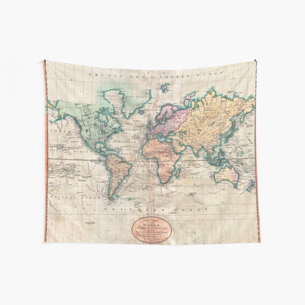 Mapa del mundo vintage 1801 Tela decorativa
